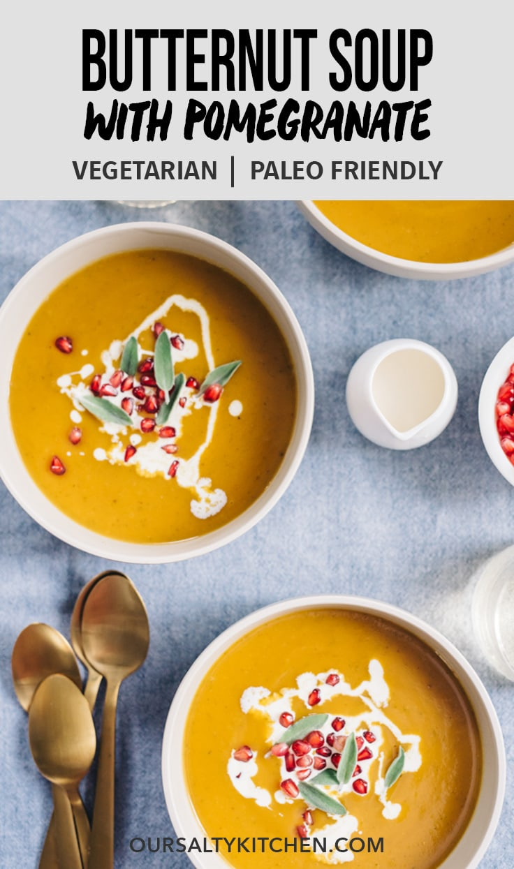 Paleo and Whole30 butternut squash soup is a healthy, seasonal, nutritional powerhouse! Sweet butternut squash and rich bone broth come together for an easy, velvety soup recipe that is the perfect balance of sweet and savory. Top this naturally gluten free, Whole30 and paleo soup with pomegranate seeds for a fun little burst of flavor in every bite! #paleo #whole30 #butternutsquash #soup #recipes #seasonal