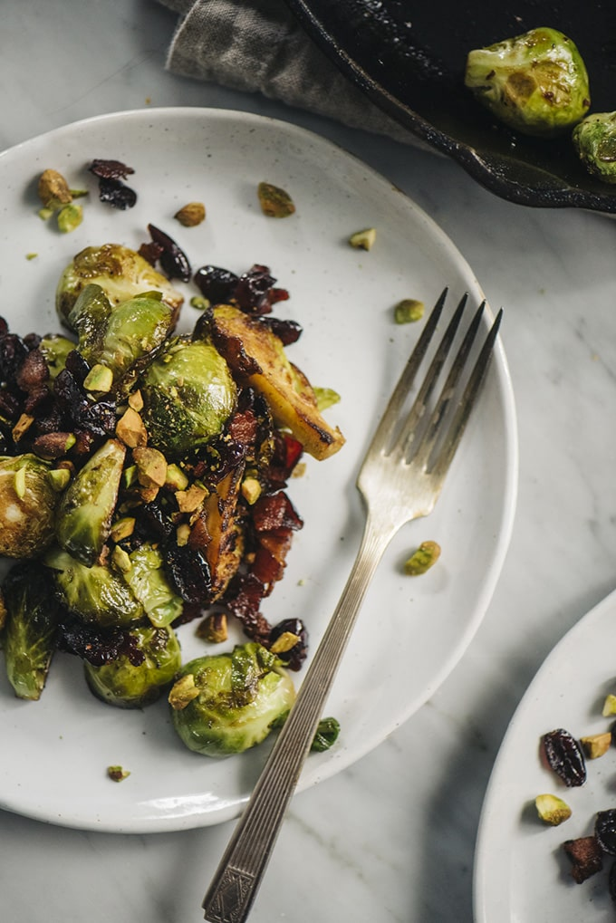 Pan Roasted Brussels Sprouts with Bacon, Cranberries, and Pistachios