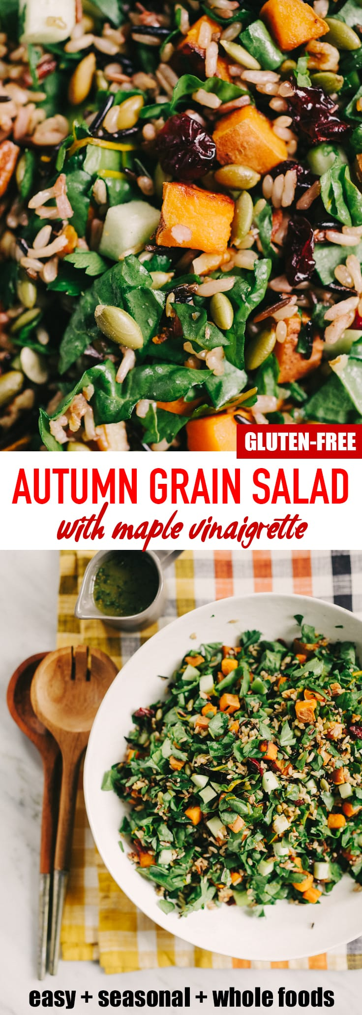 This roasted sweet potato salad with maple vinaigrette is bursting with fall harvest flavor! Roasted sweet potatoes, crisp apples, tender swiss chard, and nutty wild rice come together for a hearty, nutritious, and flavor-packed vegetarian dinner. #vegetarian #vegan #glutenfree #fall #autumn #grainsalad