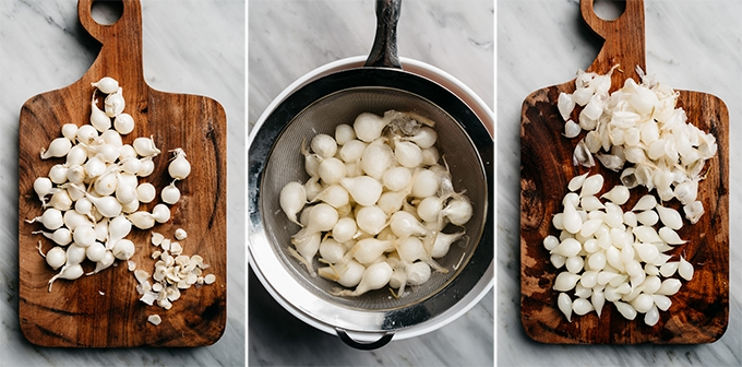 Three images showing how to prep, boil, and peel pearl onions for one pot beef stew.
