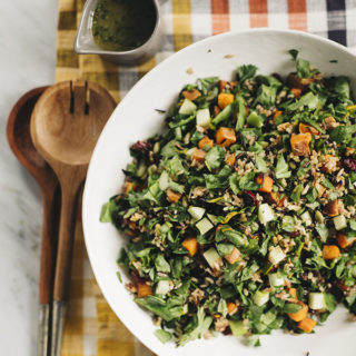 Wild Rice Grain Salad with Sweet Potatoes and Bitter Greens