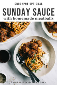 I've always wanted to learn how to make my grandma's classic Italian Sunday sauce with homemade meatballs, and I finally nailed it (with a few small adjustments to make it all my own). Simmered low and long, this classic red sauce is deeply flavorful. It's a class family recipe that will become an instant classic in your kitchen.