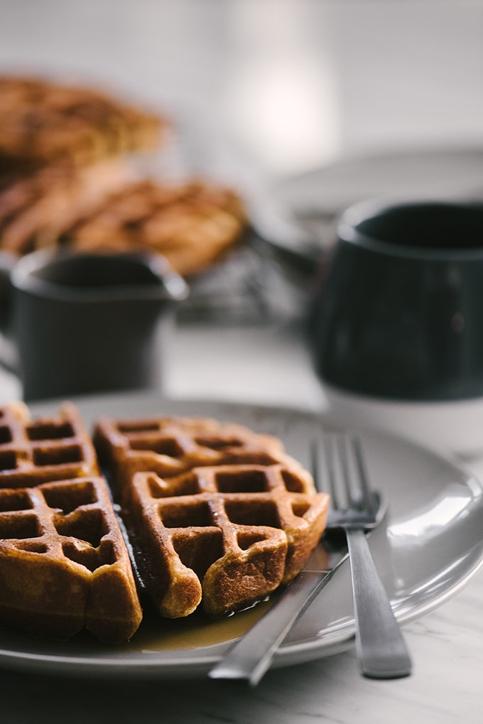 These whole grain waffles are crispy on the outside, and cakey on the inside. They're completely sugar free and made with real, whole food ingredients. #wholegrain #waffles #breakfast #recipe