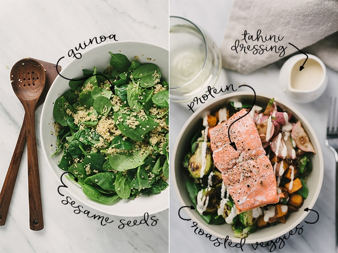 Left - an image of spinach and quinoa. Right, a fully composed salmon quinoa bowl with spinach, quinoa, roasted vegetables, and a pan seared salmon.