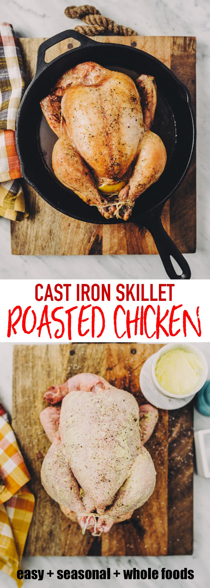 I prepare a whole roasted chicken most Sunday afternoons. It's a classic comforting recipe that has the added benefits of being both nutritious and cheap. I stretch it into at least two meals and as many lunches to get the most bang for the buck. A roasted chicken in a cast iron pan ensures super crispy skin and tender meat. #chicken #castiron #skillet #sundaydinner