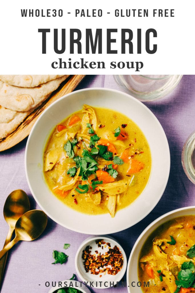 Crank your paleo soup game up a notch with this turmeric chicken soup! The tang and spice of fresh turmeric root really shines in this easy soup recipe. It's naturally gluten-free, paleo, and Whole30 compliant and a delicious way to use leftover roasted chicken.