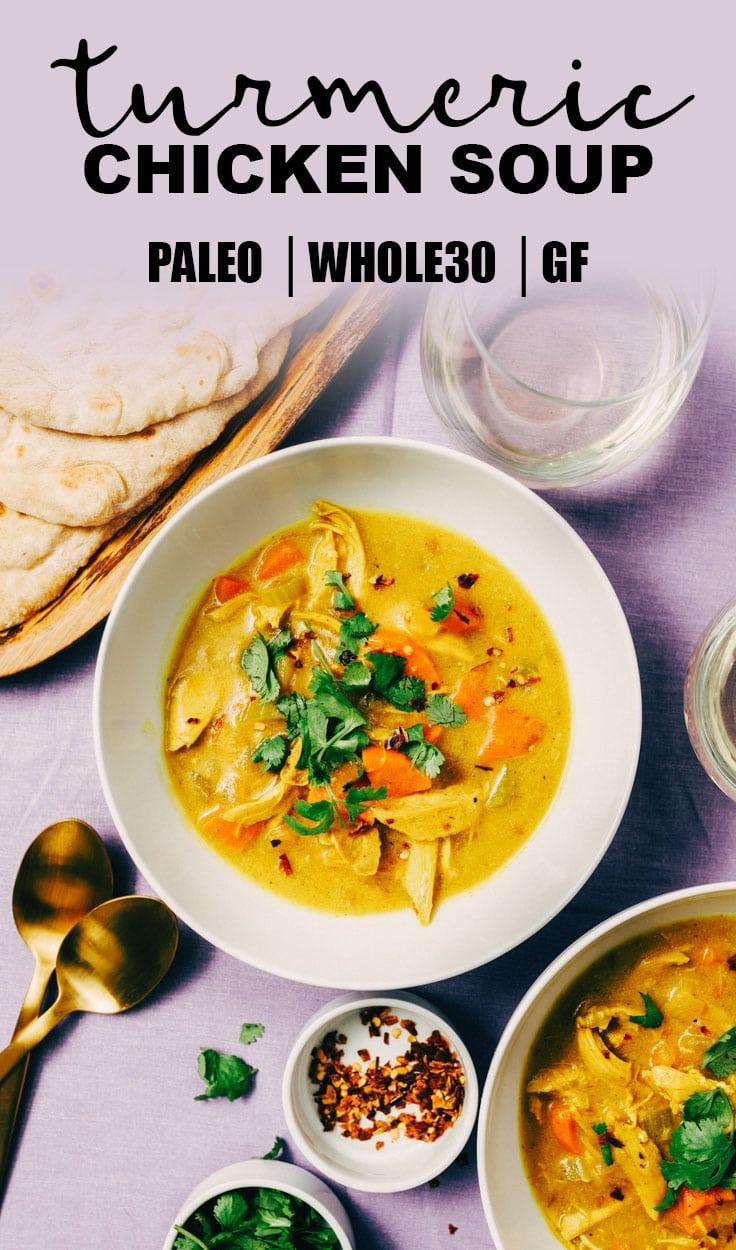 Turmeric chicken soup our salty kitchen crank your paleo soup game up a notch with this turmeric chicken soup the tang forumfinder Gallery