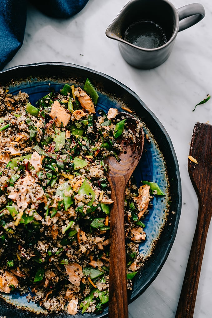 This Salmon Quinoa Salad with Honey Soy Dressing checks all of my weeknight dinner requirements - healthy, easy, fast, and delicious. It's leftover friendly too.