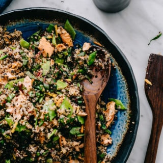 Salmon Quinoa Salad with Honey Soy Dressing