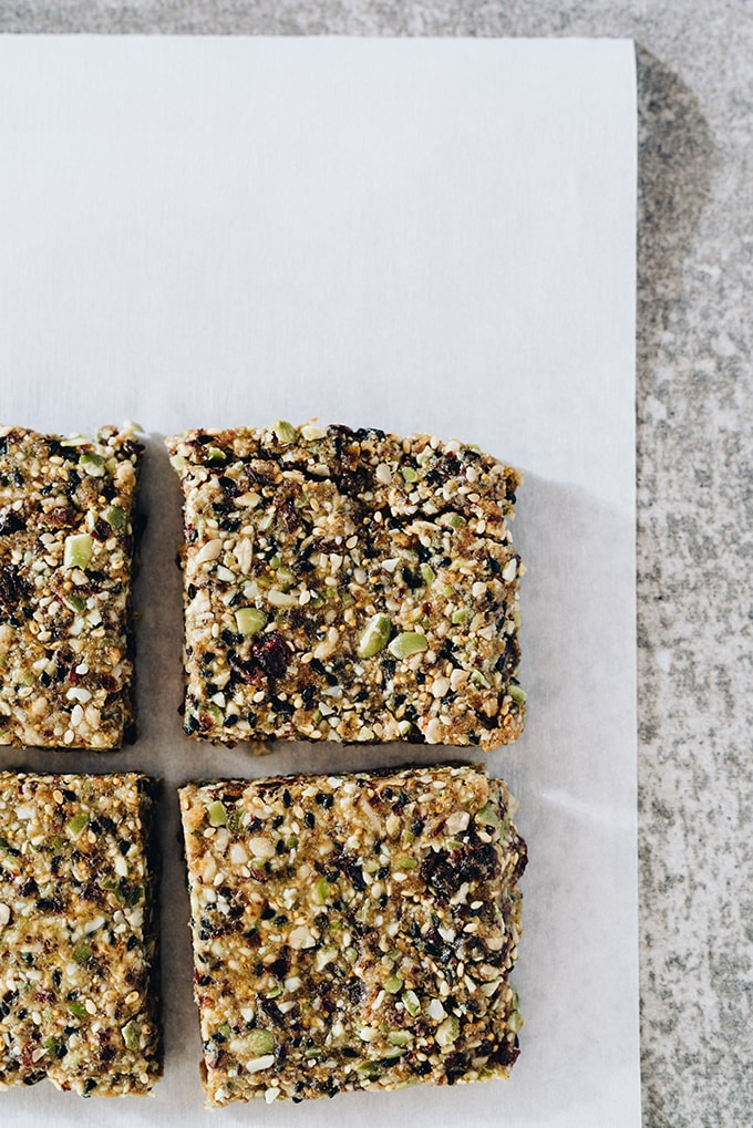 These nut-free paleo bars are slightly sweet and surprisingly nutty, with a texture that is both chewy and crunchy. Made with seeds, dried fruit, sunbutter and honey, these nut free paleo bars take only minutes to prepare and about an hour to chill. They are easy, healthy, and allergen friendly!