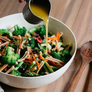 This broccoli and asparagus pasta salad is a lighter, healthier, seasonal version of the classic with whole wheat noodles that stand up well to a long marinade. Fast and easy, it's ready in just under 30 minutes!
