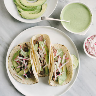 Grilled Skirt Steak Tacos with Cilantro Lime Crema