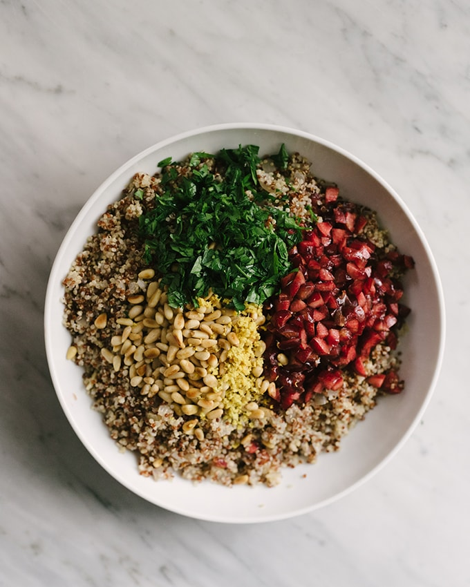 This quinoa pilaf is an easy, seasonal, no fuss side dish that's ready in just 30 minutes. Check the full post for suggestions to make this quinoa pilaf recipe your own! #glutenfree #vegan #vegetarian #quinoa #pilaf