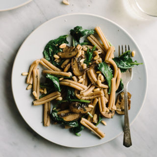 Kale Mushroom Pasta with Toasted Pine Nuts
