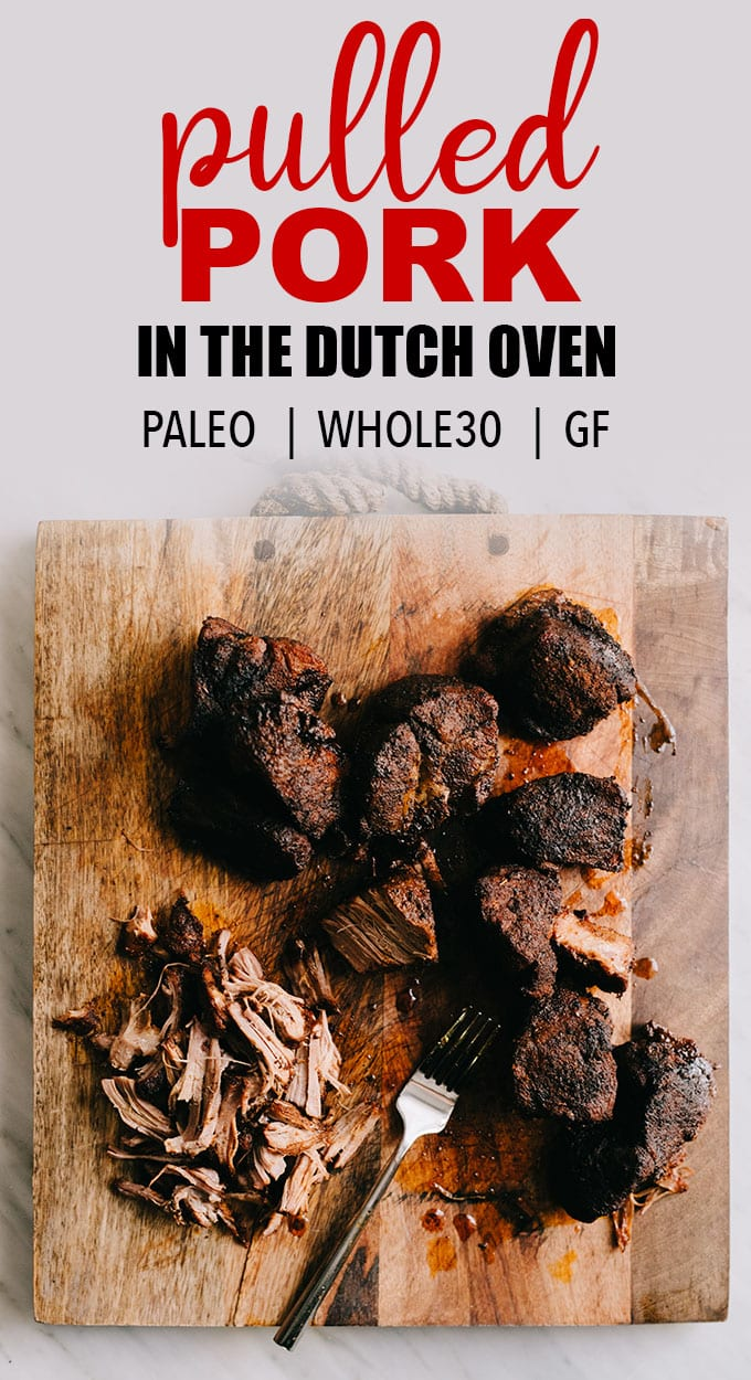 This dutch oven pulled pork is a flavorful and versatile paleo and Whole30 recipe. Oven braised pulled pork is crispy and tender, and makes an excellent freezer stash filler. #whole30 #paleo #pulledpork #freezerstash #porkshoulder #pulled_pork