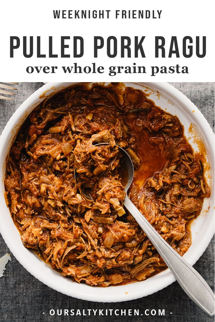 I love pulled pork ragu - tender shreds of pork in a rich marinara sauce with fresh herbs and a healthy dose of red wine. It's a flexible main dish that can be served over pasta, polenta for a gluten free version, or zucchini noodles if you're paleo. This easy weeknight version is made with leftover pulled pork for a fast and comforting meal you can pull together in under 45 minutes. No crock pot or pressure cooker required! #glutenfree #grainfree #dairyfree #pork #dinner