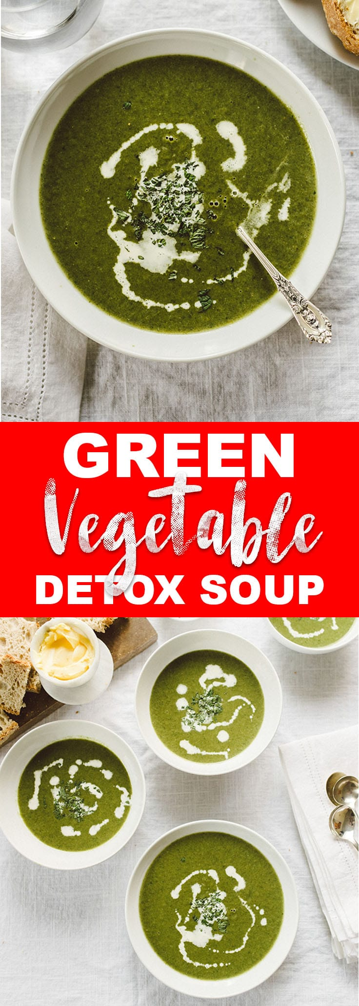 This green vegetable soup is refreshing, hearty, and packed with vitamins and minerals. It's a healthy, customizable spring detox soup that's naturally paleo and whole30. #greensoup #paleo #whole30 #realfood #wholefoods #bonebroth