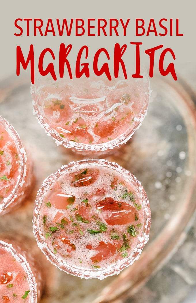 Tired of the straight-up margarita? This strawberry basil margarita is a fun twist on the classic. It's a sweet, tart and refreshing cocktail, perfect for celebrating. #strawberrymargarita #margarita #spring #cocktail
