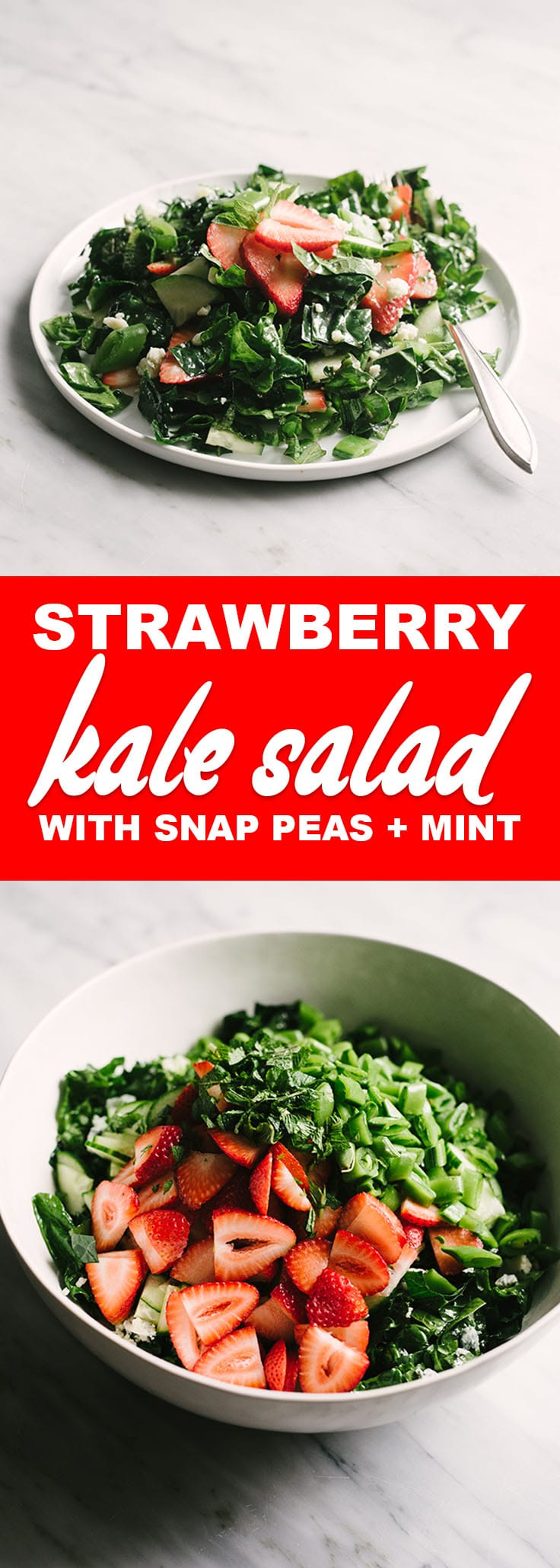 This strawberry kale salad is flavor packed nutritional powerhouse. Take advantage of best of spring produce with this healthy, seasonal spring salad! #salad #vegetarian #whole30 #spring #kale #strawberries