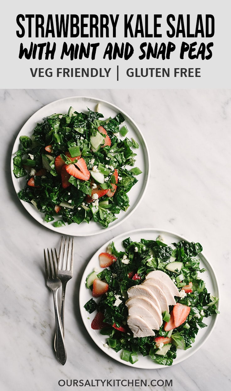 Take advantage of the best of spring produce with this healthy, seasonal spring salad! This strawberry, spinach, and kale salad with snap peas, mint, and blue cheese is a flavor packed nutritional powerhouse. It's fast, easy, and incredibly versatile. Serve it with chicken for a protein-packed lunch, or skip it for a nourishing vegetarian salad. #cleaneatingrecipes #salad #vegetarian #spring #kale #strawberries #spinach #healthy