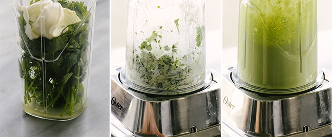 Three images detailing the process of making cilantro lime crema - a blender cup filled with cilantro, lime juice, and sour cream; the cup with partially mixed ingredients; and the cup with smooth, blended ingredients.