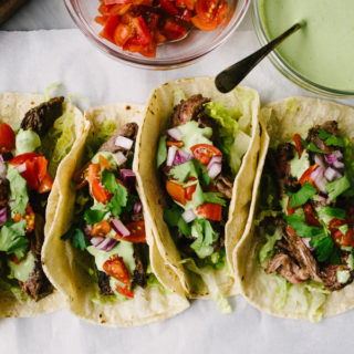 Skirt Steak Tacos with Cilantro Lime Crema