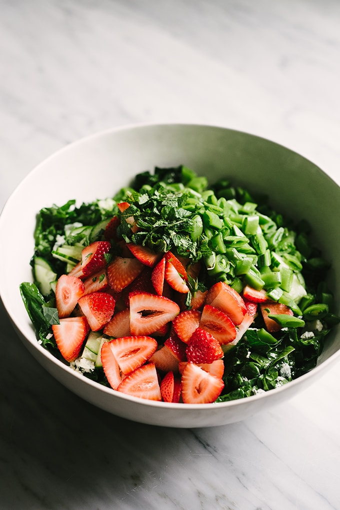Strawberry Kale Salad With Mint