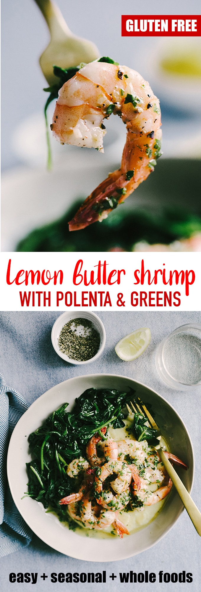 Lemon butter shrimp is one of my favorite whole foods recipes for making weeknights feel fancy. It's an easy and fast real food recipe for busy people everywhere. #healthy #wholefood #realfood #shrimp #lemonbutter