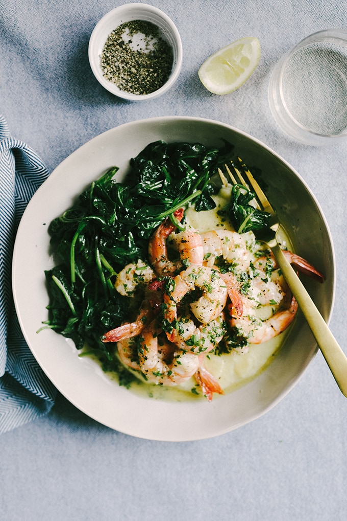 Lemon butter shrimp over polenta whole food recipes real food lemon butter shrimp is one of my favorite whole foods recipes for making weeknights feel fancy forumfinder Gallery