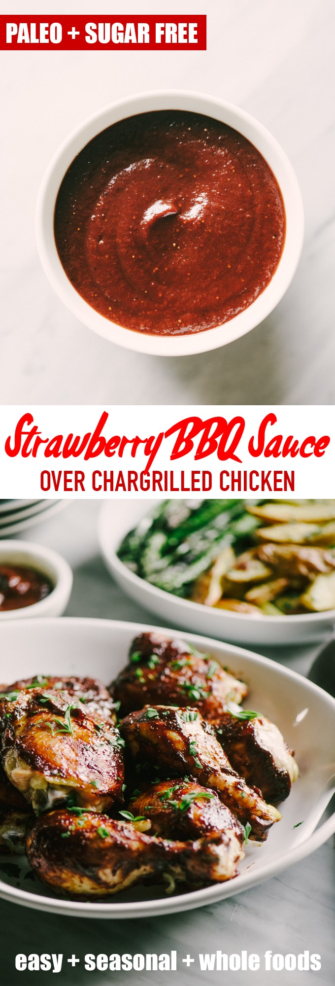 This strawberry BBQ sauce is sweet and tangy, and a perfect companion to juicy grilled chicken. For my vegetarian friends, try it as a base for pizza with thinly sliced new potatoes, blue cheese, and arugula. #paleo #sugarfree #strawberry #bbq #wholefoods #realfood