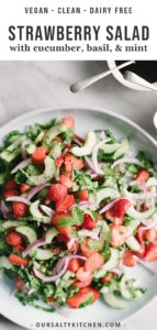 Beat the heat with this strawberry cucumber salad! It's an easy, healthy, and refreshing summer recipe that will cool you down and keep you feeling fresh. Strawberry and cucumber are tossed with mint and basil, then drizzled with balsamic reduction and extra virgin olive oil for a sweet and savory finish full of summer's best flavors. Serve it as a vegan side dish, or top it with grilled chicken, fish, or steak for a wholesome paleo summer dinner.