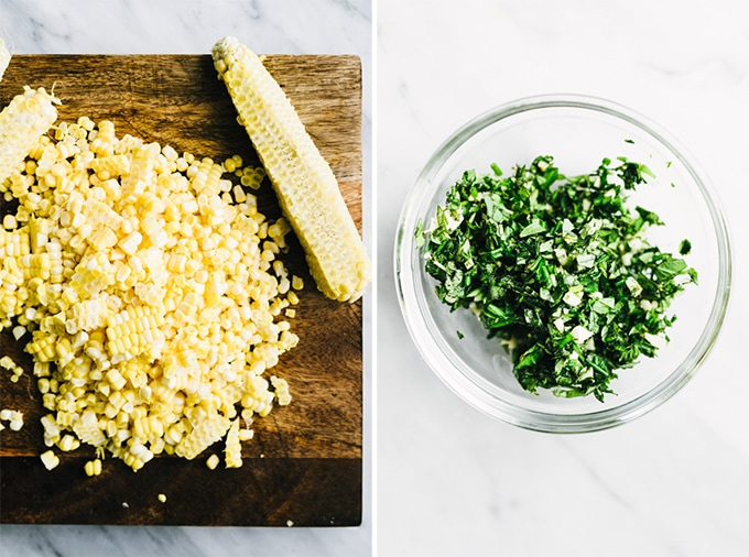 Left - several ears of corn with the kernels sliced off. Right - a small bowl of herbs mixed with minced onion for gremolata.