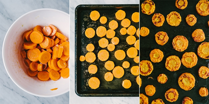 Three images showing how to slice, season, and then roast carrots for roasted carrot apple soup.