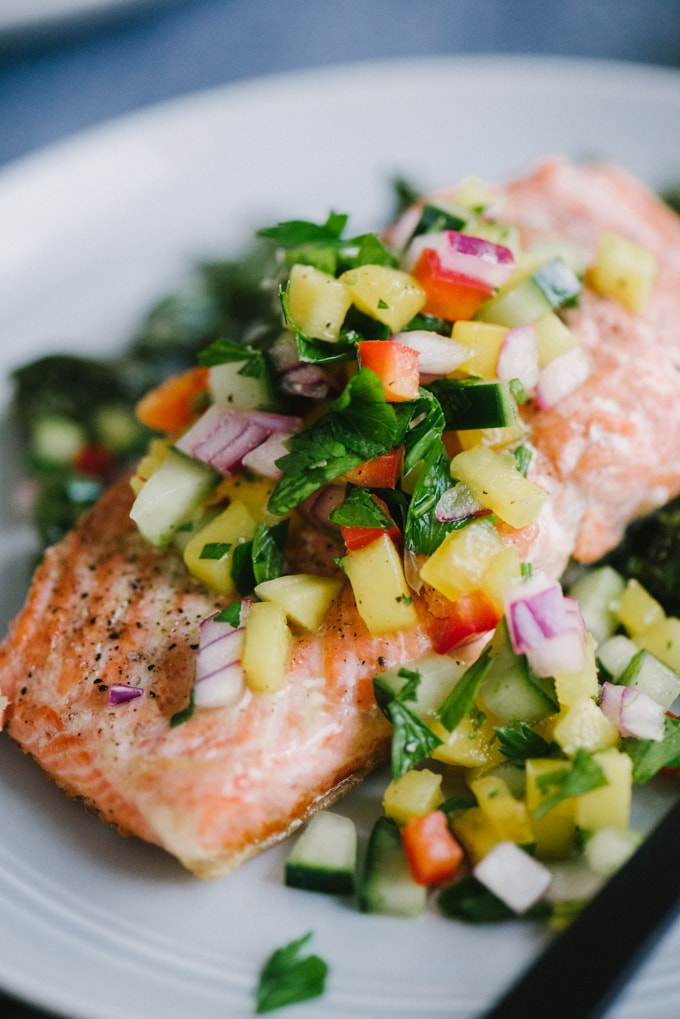 Cucumber mango salsa whole food recipes our salty kitchen this fresh and tangy cucumber mango salsa is one of my favorite toppings for simple pan forumfinder Gallery