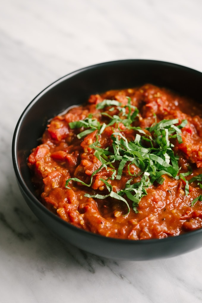 Fresh tomato marinara cooking basics our salty kitchen fresh tomato marinara is a whole food recipe that never goes out of style deeply forumfinder Choice Image