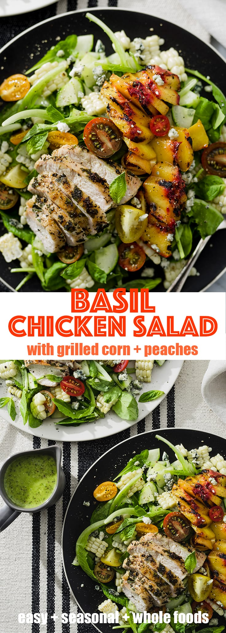 This basil chicken salad is a nutritious and flavorful way to use up an abundance of fresh basil. Packed with nutrition, a punch of protein, and naturally gluten-free. Check my recipe archive for more easy, seasonal, whole food recipes. #wholefood #realfood #glutenfree #recipe