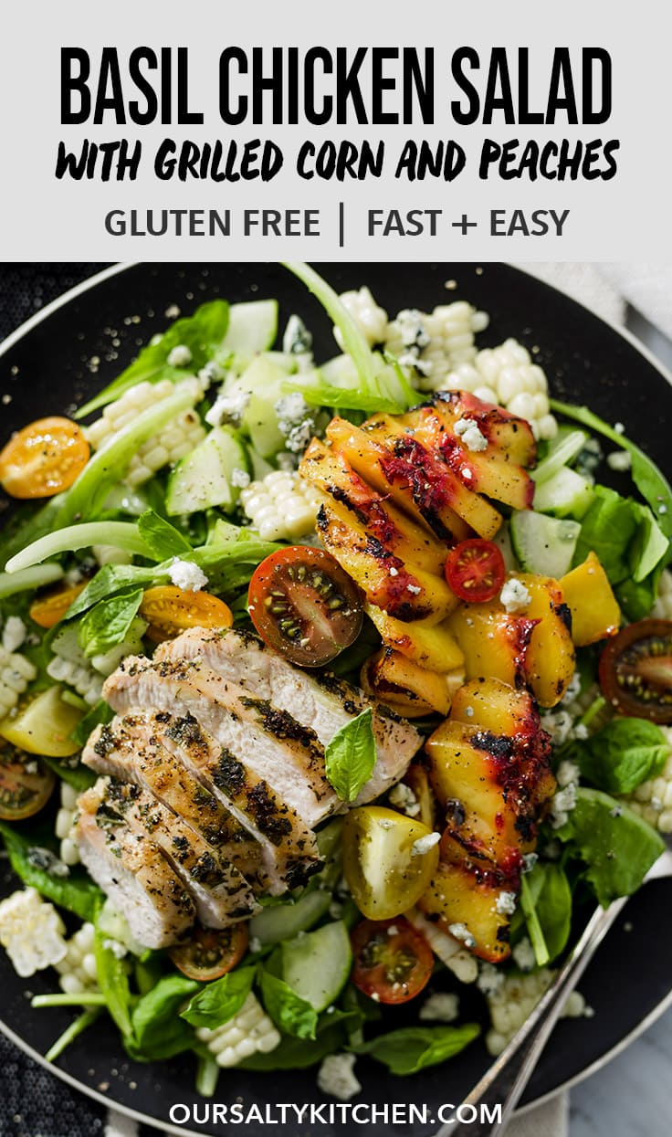 This basil chicken salad is a healthy and flavorful way to use up an abundance of fresh basil. This grilled summer salad pairs juicy basil chicken with grilled peaches and sweet corn for a colorful, seasonal, gluten free recipe that's packed with flavor and protein. #basil #summer #chicken #salad #glutenfree #wholefoods #realfood