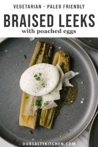 Braised leeks with white wine, parmesan, and a poached egg is simple, healthy, whole foods recipe. Skip the egg and serve them as a side dish, or add a simple salad or seasonal fruit to make it a filling vegetarian dinner. If you've never had braised leeks before, you're in for a delicious treat!