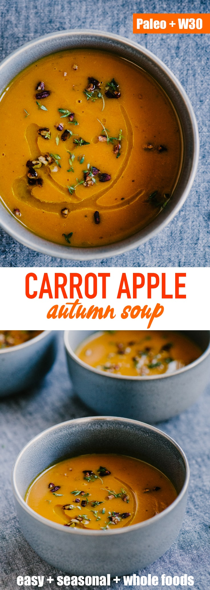 This roasted carrot apple soup is like a big hug - warm, comforting, and nourishing for the body and soul. It's a nutty and sweet fall soup recipe that's naturally paleo, whole 30 and gluten-free. #paleo #whole30 #fall #soup #wholefood