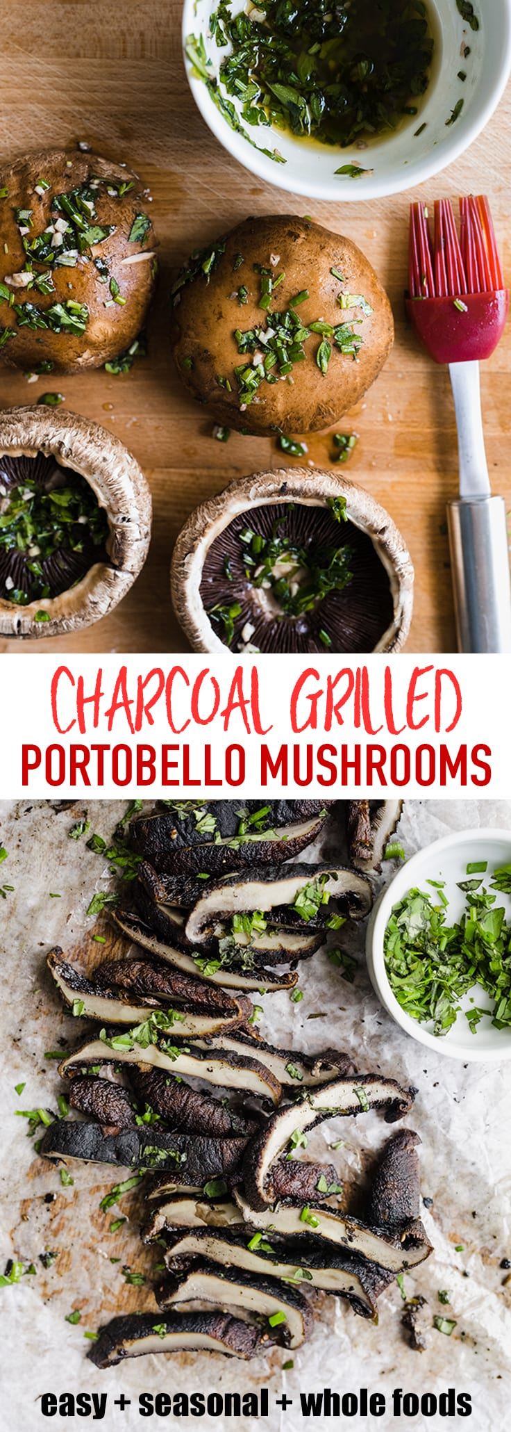 These charcoal grilled portobello mushrooms are slightly smoky, super juicy, and perfectly charred. This is an easy, simple, and insanely delicious whole food side dish that's a total crowd pleaser! #wholefood #realfood #grilledmushrooms #vegetarian #paleo