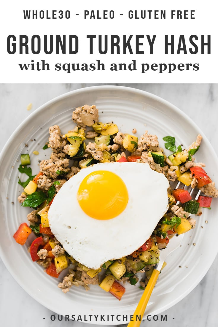 Need a need paleo or Whole30 breakfast idea? Try this easy, low carb ground turkey hash. It's one of my favorite make ahead paleo ground turkey recipes. Serve it with or without a fried egg - it's tasty and satisfying either way. This recipe is great for meal prep, a healthy dinner, or a yummy warm breakfast!
