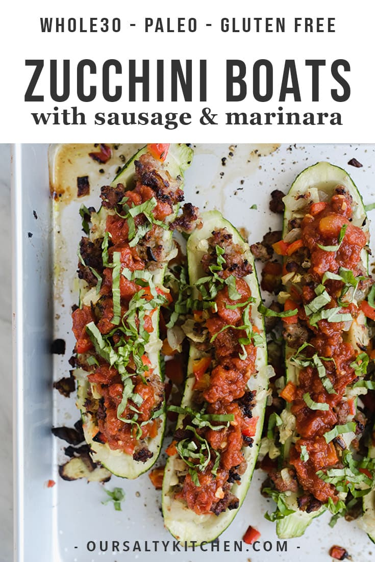 Tired of the same old paleo or low carb dinner recipes? Then you'll love these whole30 Italian sausage zucchini boats. Stuffed with Italian sausage and smothered with a super fast marinara sauce and fresh basil, these guys are healthy, easy, and crazy delicious. #paleo #whole30 #glutenfree #dinner #healthy #healthyrecipes