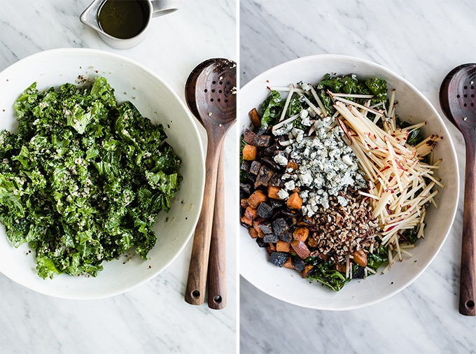 How to make kale chicken salad - left, a salad bowl filled with kale and cooked quinoa. Right, the kale and quinoa based topped with apple, blue cheese, walnuts, and grilled sweet and purple potatoes.