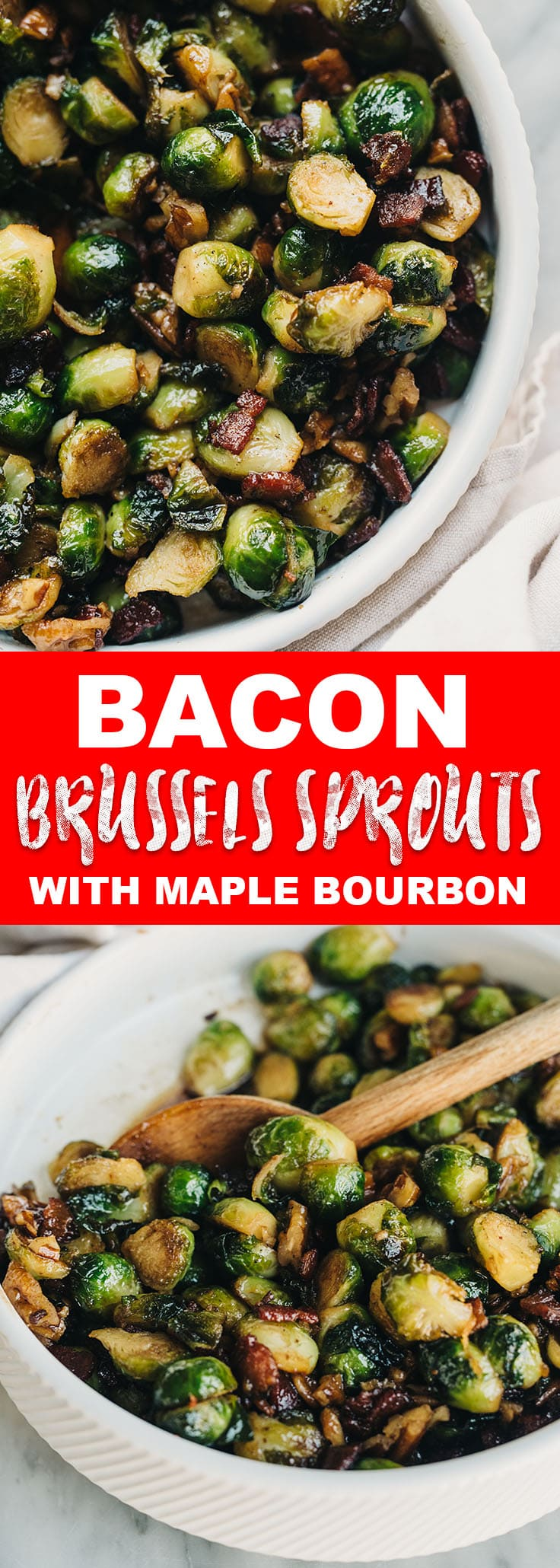Maple bourbon glaze makes these crispy bacon brussels sprouts just a little extra special. The entire family will love this easy and fast Thanksgiving side dish! #paleo #glutenfree #sidedish #thanksgiving #recipe #brusselssprouts #bacon #maple #bourbon