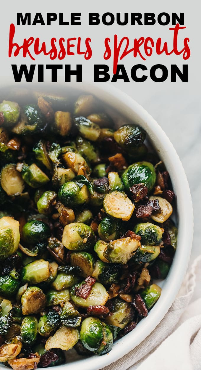 Maple bourbon glaze makes these crispy bacon brussels sprouts just a little extra special. The entire family will love this easy, gluten free Thanksgiving side dish! #paleo #glutenfree #sidedish #thanksgiving #recipe #brusselssprouts #bacon #maple #bourbon