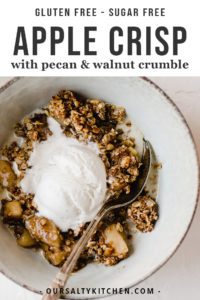 This gluten free apple crisp is a lightened up and refined sugar free version of the fall classic! It's sweetened with maple syrup and coconut sugar, and topped with gluten free oats, pecans, and walnuts. It's made start to finish in a cast iron skillet resulting in an equally tender and crisp texture. This is a healthy fall dessert recipe that will satisfy even the pickiest sweet tooth around your table.