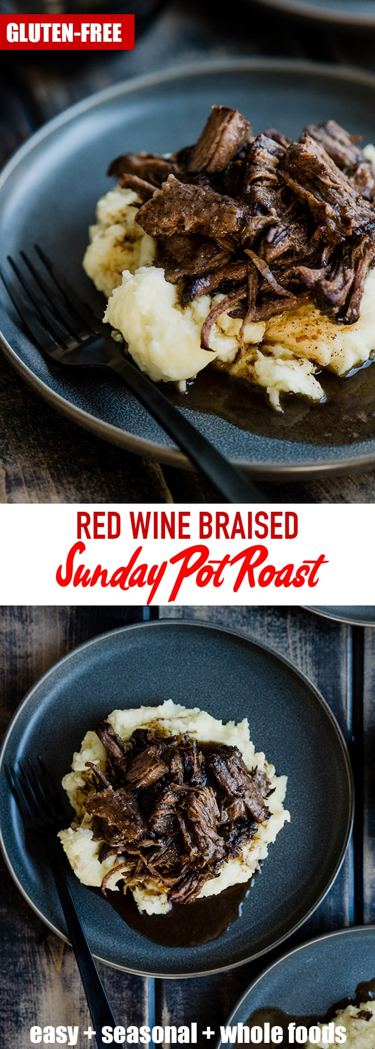 This braised red wine pot roast is an easy one pot recipe the entire family will love! It's perfect over buttery mashed potatoes with a simple side dish. Braised pot roast with red wine - it's what's for Sunday dinner!