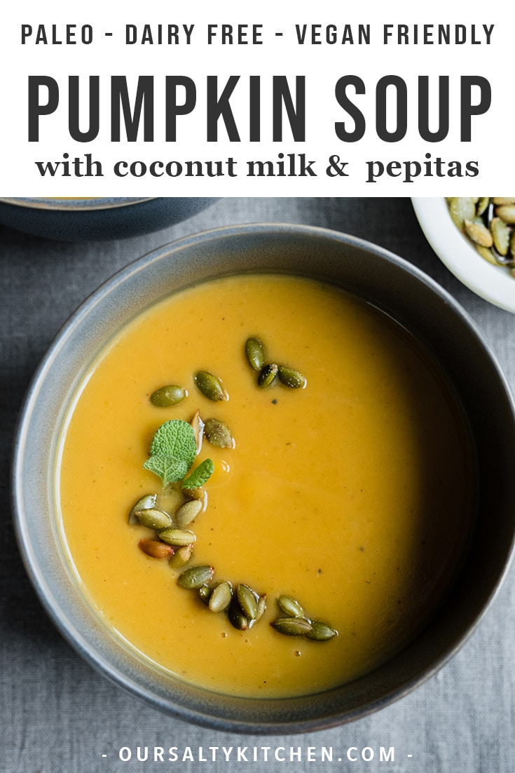 This roasted pumpkin soup recipe is the reason for the fall season. Fresh roasted sugar pumpkins make for a bright, fresh, and sweet flavor. Coconut milk makes it creamy, but keeps the texture light and fresh. This is an easy and simple lunch, light dinner, or dinner party appetizer. Because it's paleo, gluten free, dairy free, and vegan friendly, this pumpkin soup is a recipe everyone can love!