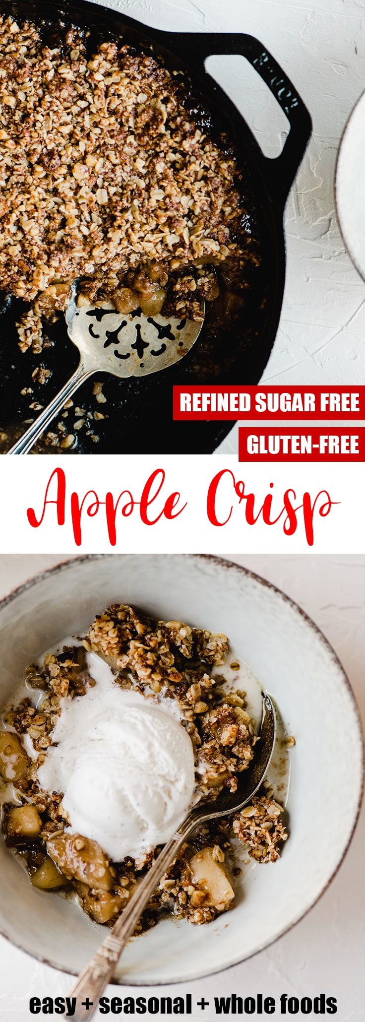 This gluten free apple crisp is a lightened up and refined sugar free version of the Thanksgiving classic! It's sweetened with maple syrup and coconut sugar, and topped with gluten free oats, pecans, and walnuts. It's made start to finish in a cast iron skillet resulting in an equally tender and crisp texture. This is a healthy fall dessert recipe that will satisfy even the pickiest sweet tooth around your table.#glutenfree #sugarfree #applecrisp #thanksgivingdessert #falldessert