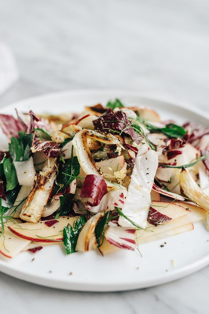 A 45-degree view of a white plate on a marble background filled with roasted fennel salad with apple and radicchio.